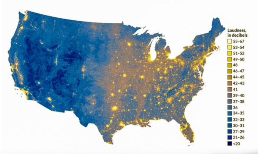 USA sound map in decibels