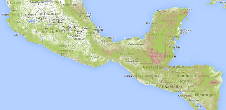 Deforestation in Central America and Mexico against tree cover