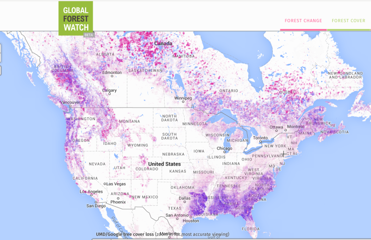 tree cover north america
