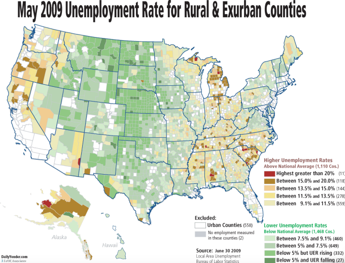 2009 unemployment in rural counties nonurbs
