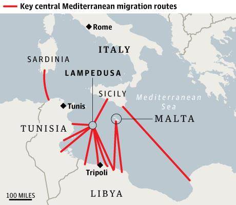 GUARDIAN MAPS MEDITERREANEAN MIGRATION ROUTES