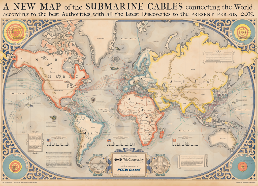 Around The World In Submarine Internet Cable Musings On Maps - Fiber cable map compared to the us interstate highway map
