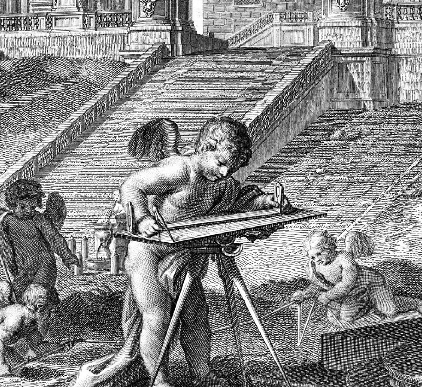 surveyor's tablet and putto