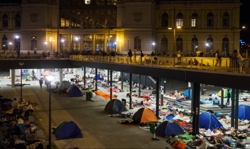 Refugees Asleep outside Budapest Station:Simeonov