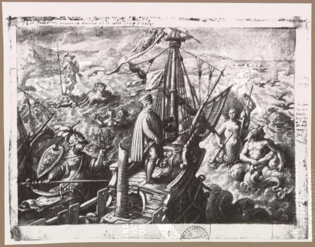 Columbus on Ship to New World-Stradanus, c. 1589 (Bib Med Laurenziana)