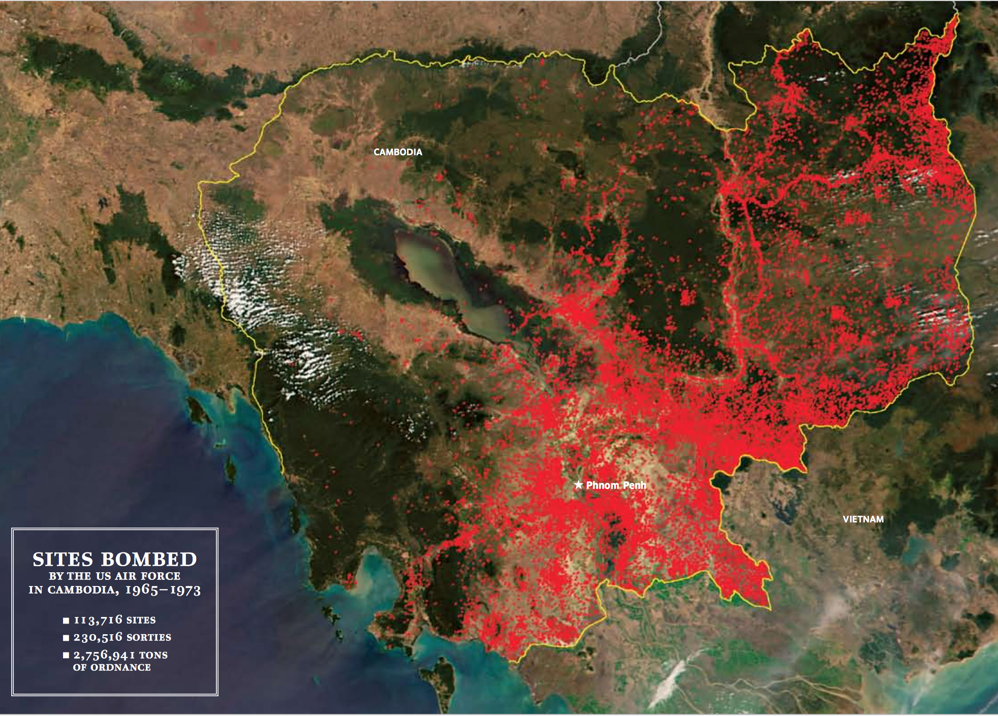 Where US Air FOrce Bombed Cambodia