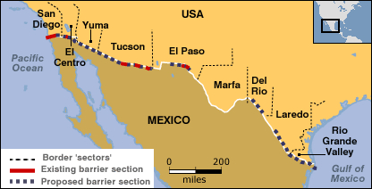 Image result for trump border wall san diego map