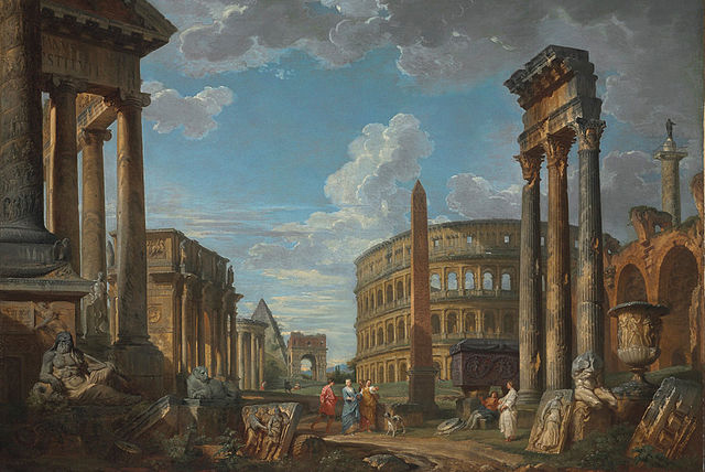 640px-Giovanni_Paolo_Panini,_An_architectural_capriccio_with_figures_among_Roman_ruins