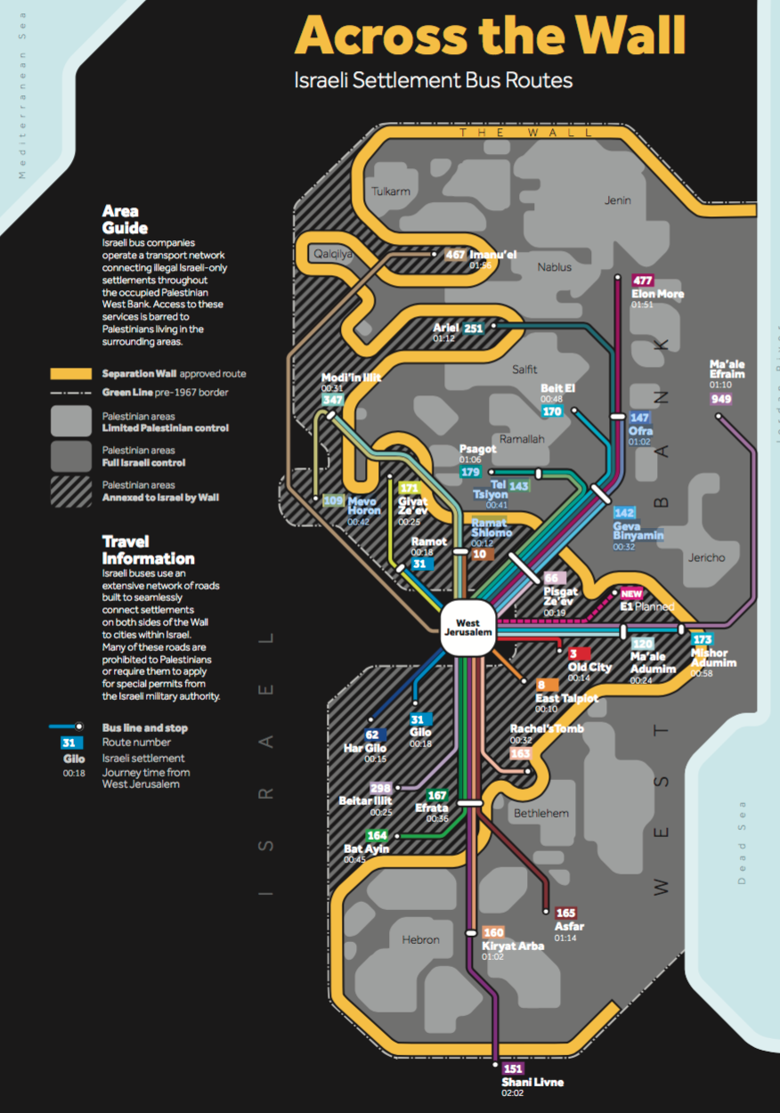 Isreali transit routes to settlements.png