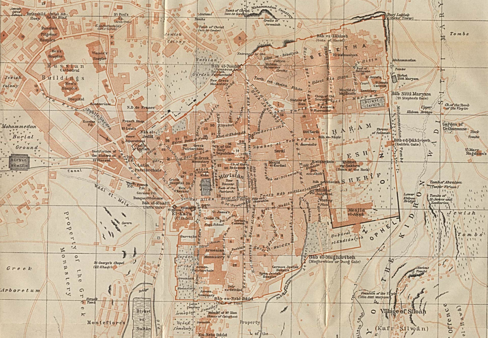 Old Jeruslaem--1912; 1:8350 U Texas http:::www.lib.utexas.edu:maps:historical:jerusalem_1912.jpg.png