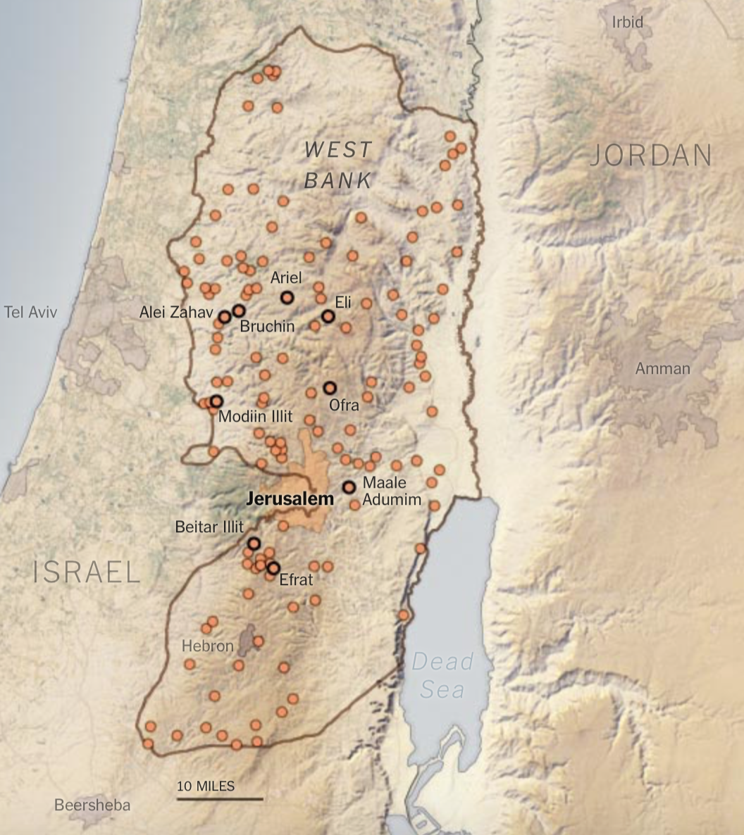 Settlements in West Bank NYT : Peace Now Setlement locations.png