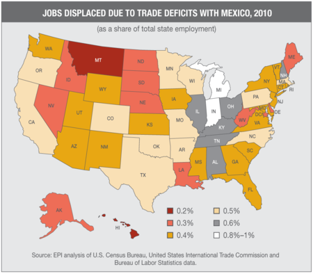 America First Musings On Maps - Changes in us employment international mapping