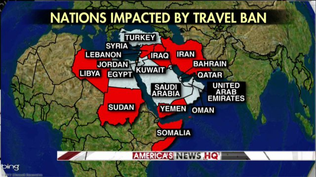 Donald Trump Musings On Maps - Map of countries in us travel ban