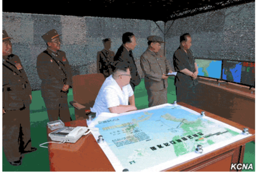Kim Jong Un with Map KCNA.png