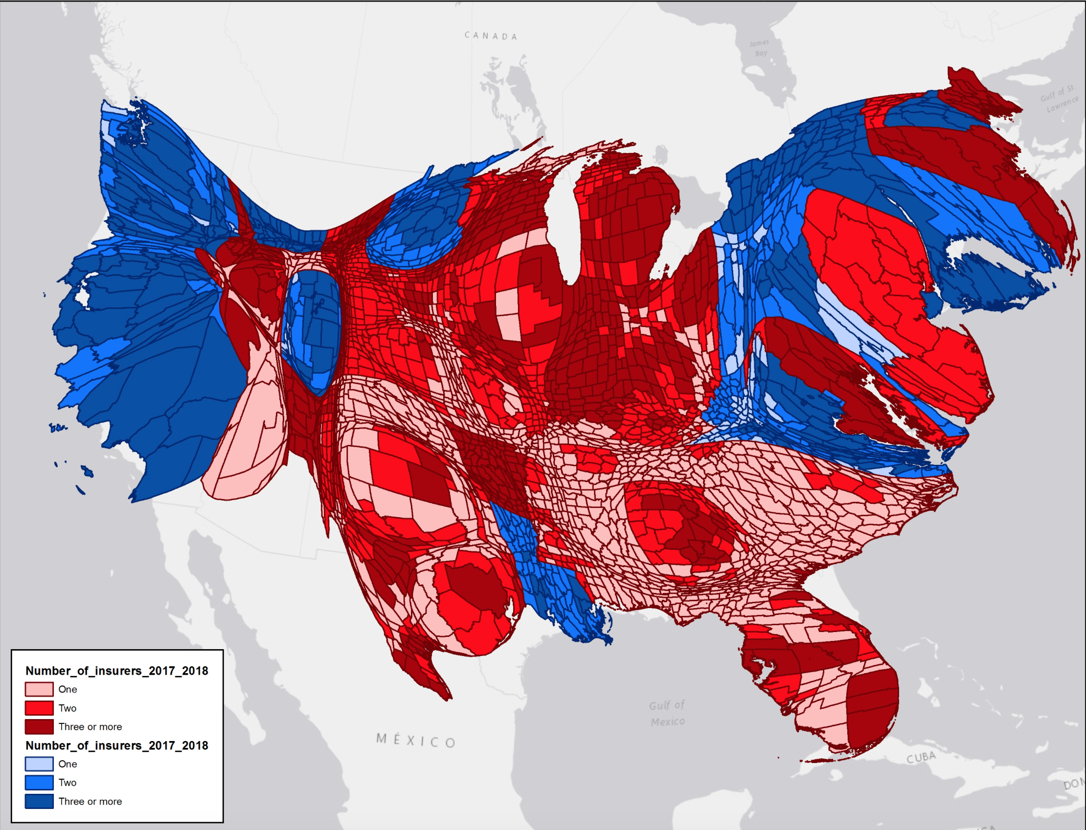 Warped Map on Insurers Red v Blue Goves