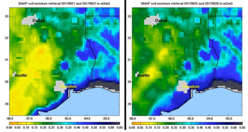 SMAP soil moisture retrieval bevore and after Harvey made landfall.png