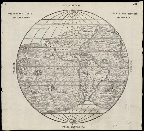 Globular Italian Map Parte del Mondo Ritrovato 1583