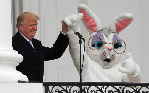 President Donald Trump attends the annual White House Easter Egg Roll on the South Lawn of the White House in Washington