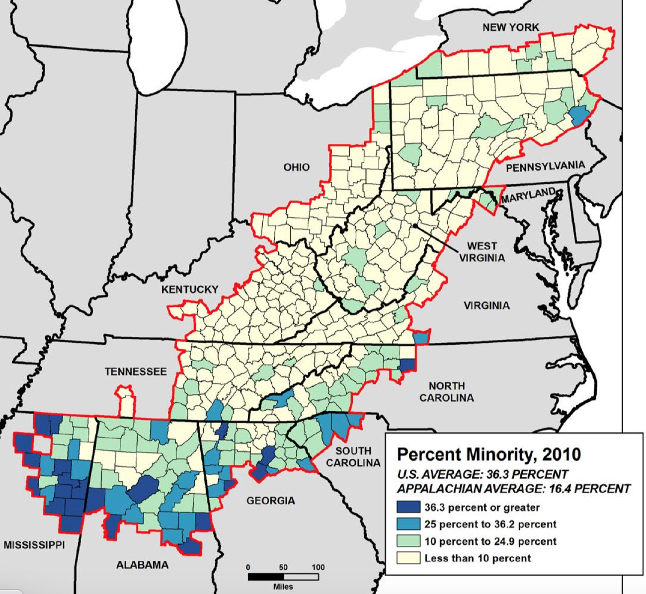 Minority presence Appalachian Avg 2010