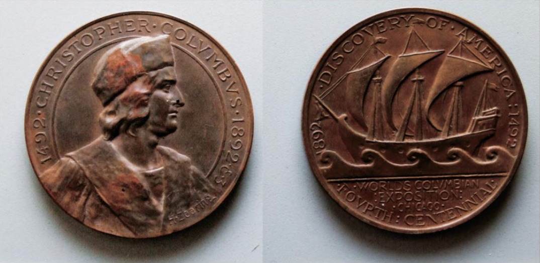 1893 volumbus medal, anon, as a classicizing engraving tableaux