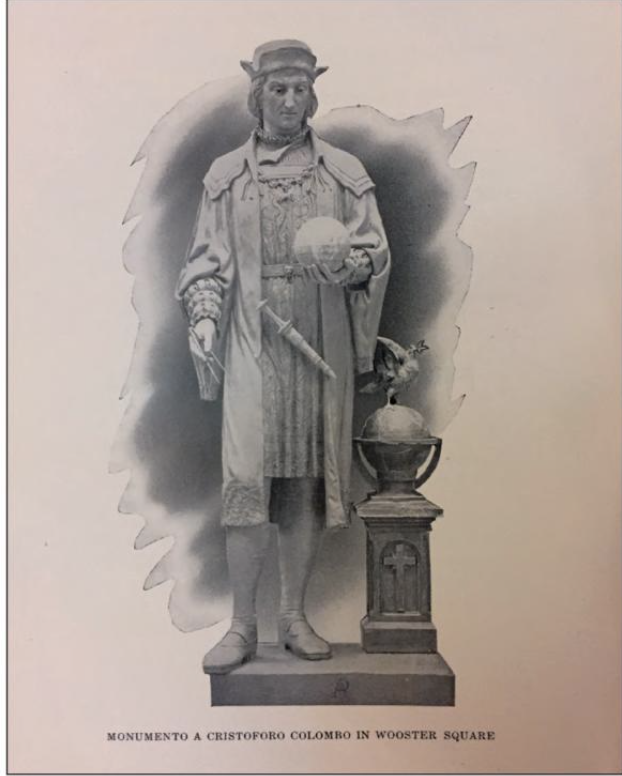 Planned Columbus Monument in Wooster Sqauare with design of Alfons Pelzer, in stAUTES MADE FOR SALE NOT IN BRONZE